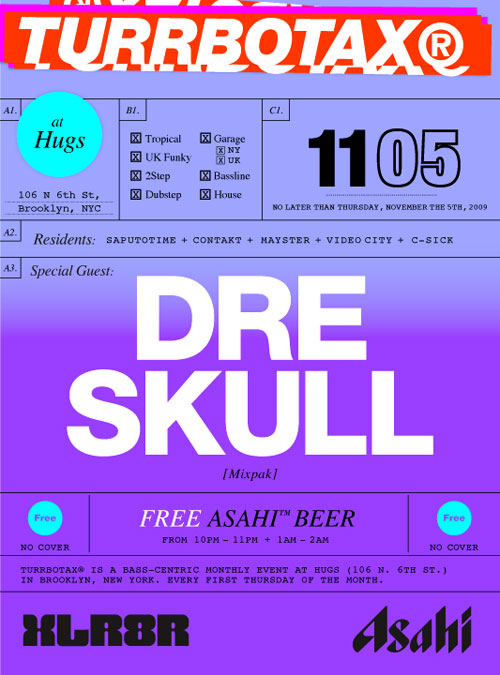 Dre Skull TURRBOTAX Party Flyer