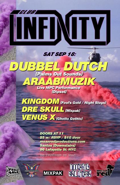 Club Infinity Flyer Dubbel Dutch Araabmuzik